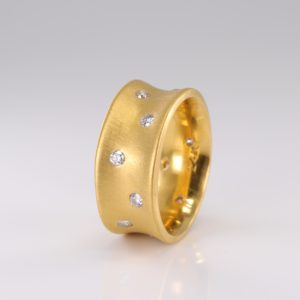 24k Pure Gold Band With Diamonds