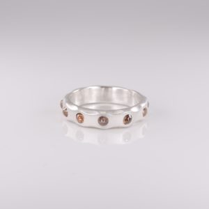 .999 Pure Silver Coral Diamond Ring