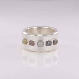.999 Pure Silver Raw Diamond Ring
